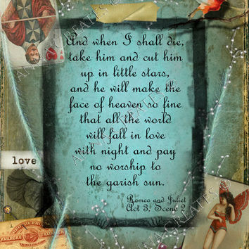 Shakespeare Quote Love 8 1/2 x 11 Digital Collage by AnnaCreates