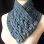 The REVERSIBLE Cabled Neckwarmer / In DEEP TEAL/ by yarncoture