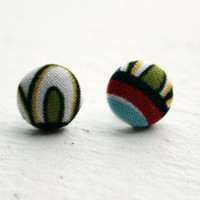 Fabric Button Earrings  Mod Arch by ColorMeFabricbyNikki on Etsy
