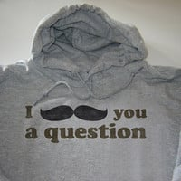 I moustache you a question funny hoodie size Large by geekthings