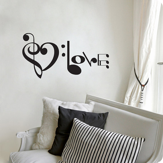 Music Notes Spelling Love Wall Decal Vinyl Art by Stickitthere