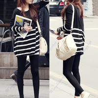Korean Style Women Stripe Long Sleeve Loose Knit Sweater Jumper Knitwear Tops