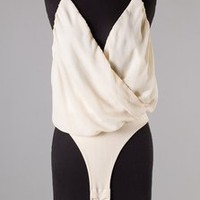 White Chiffon V-Neck Bodysuit  Tanny&#x27;s Couture LLC