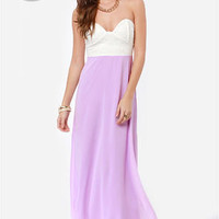 LULUS Exclusive Pastel-Tale Heart Lavender Maxi Dress