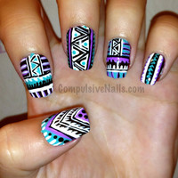Tribal Fringe Fake Nails by CompulsiveNails on Etsy