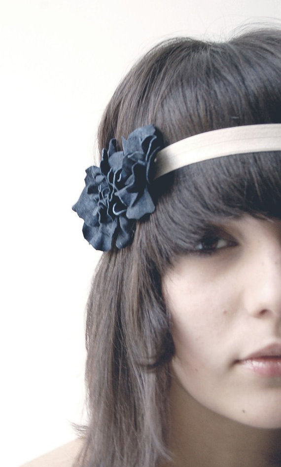 Navy blue floral elastic headband