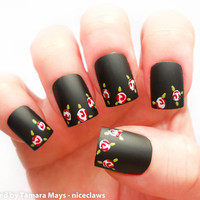 Matte Black Romantic Vintage Roses Fake Nails