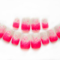 Hot Pink Ombre Fake Nails with Glitter