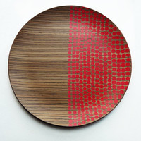 Wood platterwith red polka dots