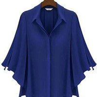 Blue Half Batwing Sleeve Single Breasted Shirt S009939