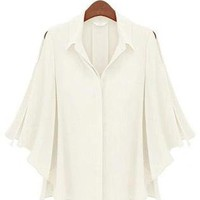 White Half Batwing Sleeve Single Breasted Shirt S009937