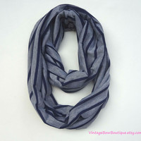 Infinity scarf - navy blue and heather grey stripe scarf - tube scarf - circle scarf - hipster fashion