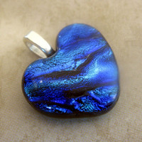 Tropical Rapids Blue Dichroic Glass Heart Pendant by mysassyglass