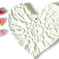 Ceramic White Heart with Organza Ribbon Wedding Decoration