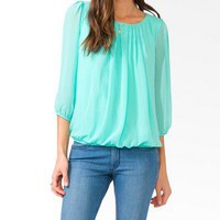 Semi Sheer Bubble Top | FOREVER 21 - 2043157602
