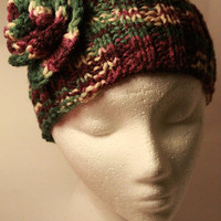 Calorimetry  in variegated yarn maroon green and beige by toppytoppy
