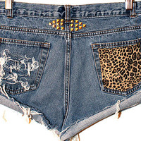 One-of-a-kind Leopard Pocket Shorts (high-waisted, leopard print, cutoffs)