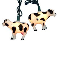 Kurt Adler 10-Light Cow Indoor/Outdoor Light Set