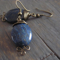 Starry Night Lapis Lazuli Earrings by StrayStones on Etsy
