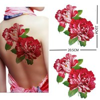 Extra large size red peony flower temporary tattoos 8.66