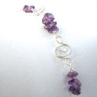 Amethyst Bracelet with Argentium Sterling Silver Spiral Links, Nickel Free
