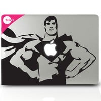 Mac Book Art- Superman Apple Chest- Removable Decal Sticker Decal 100A