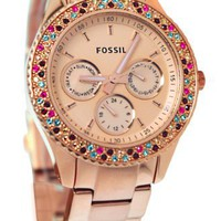 Fossil ES3198 Stella Stainless Steel Watch, Rose