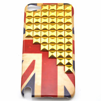 iPod touch 5 hand Case Cover with golden pyramoid stud for appleipod touch 5 hard Case, ipod touch 5 case  s 11