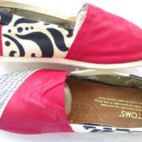 The Courtney  Red and Cream Custom TOMS by FruitfulFeet on Etsy