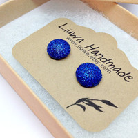 Royal Blue Glitter Dot Post Earrings, Polymer Clay Studs, Stainless Surgical Steel Posts