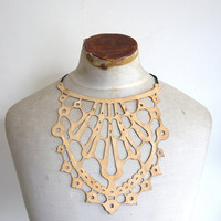 $42.06 Leather lace necklace  cream by afterWARD on Etsy