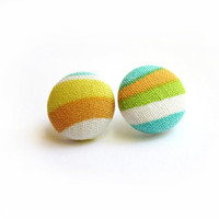 Colorful Button Earrings Striped  Sherbet by ButtonBeloved on Etsy