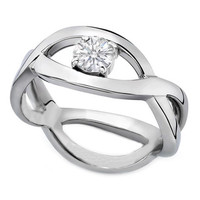 Engagement Ring - Infinity Love Solitaire Diamond Engagement Ring in 14K White Gold - ES509
