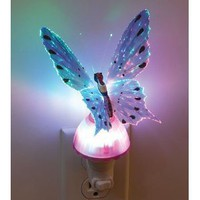 Butterfly Optic Fiber Color Changing Night Light Show - Teal