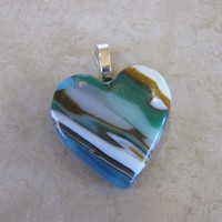 Colorblock Heart Jewelry, Earthy Fused Glass Pendant, Valentines Day Heart - Always and Forever - 4071 -3