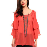 GYPSY WARRIOR - Peach Blush Cut out Blouse