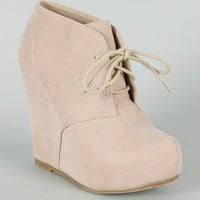 Bamboo Debrah-01N Suede Lace Up Wedge Bootie