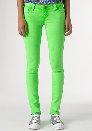dELiAs &gt; Britt Low-Rise Skinny Color Jean Bright Green &gt; jeans &gt; shop by wash &gt; color