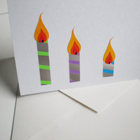 Candle Birthday Card 5 x 7 inches by SVaethDesigns on Etsy