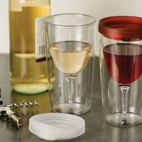 Vino2Go 2 Pack of Double Wall Clear Acrylic Tumbler with Wine Red Lid