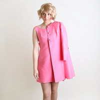 Vintage Mini Dress and Coat - Hot Pink Twiggy Style A-Line Mod Tunic - Small