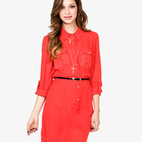 Chiffon Dress w/ Skinny Belt