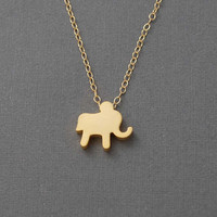 Tiny Gold Elephant Necklace by jennijewel on Etsy