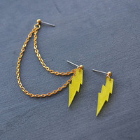 Yellow Glitter Lightning Gold Double Pierce by oflovelythings
