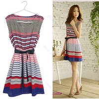 Hot Summer Women Sleeveless Casual Colorful Stripes Party With Belt Mini Dress