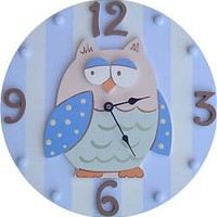 Blue Owl Wall Clock by Wish Upon a Star