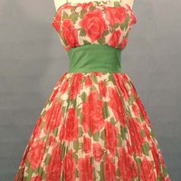 STRIKING Pleated Rose Print Voile 1950's Party Dress VINTAGEOUS VINTAGE CLOTHING