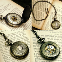 Brass Mechanical Pocket Watch-  RagTraderVintage.com