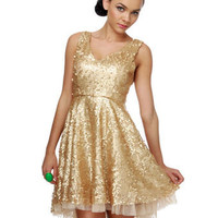 Dazzling Sequin Dress - Gold Dress - $92.00