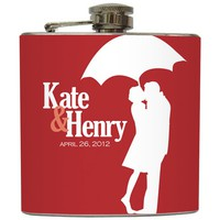 Liquid Courage Flasks: &quot;Kissing in the Rain&quot; - Custom Names and Date Flask
